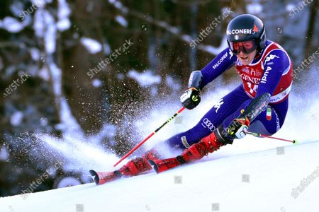 Stock Photo of Sofia Goggia of Italy clears a gate during the first run of the women's Giiant Slalom race of the FIS Alpine Skiing World Cup in Kranjska Gora, Slovenia, 16 January 2021.