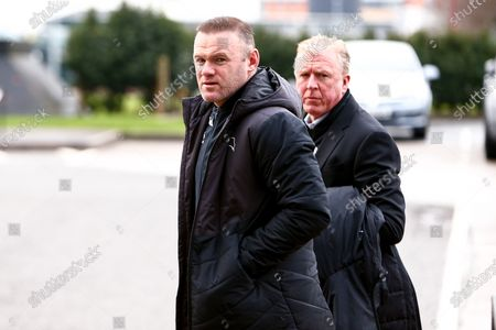 Derby County manager Wayne Rooney and Derby County Technical Director Steve McClaren arrive at Pride Park Stadium, home to Derby County