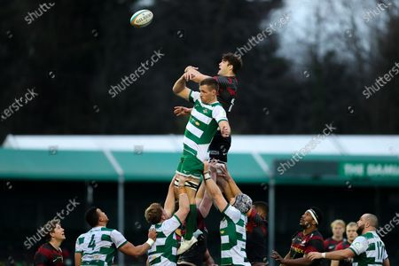 Callum Hunter-Hill of Saracens leaps to secure the ball at a line-out