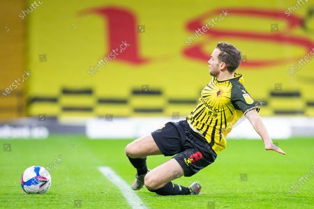 GOAL 1-0 Watford midfielder Tom Cleverley (8) scores during the EFL Sky Bet Championship match between Watford and Huddersfield Town at Vicarage Road, Watford