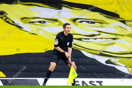 Assistant referee Venamore watched by Graham Taylor during the EFL Sky Bet Championship match between Watford and Huddersfield Town at Vicarage Road, Watford