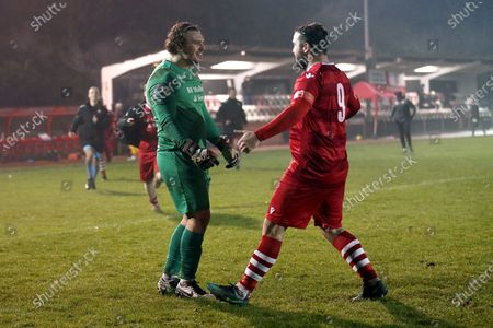 Stock Photo of Joe Wright of Hornchurch (L) celebrates with Sam Higgins of Hornchurch after the penalty shoot-out during Hornchurch vs King's Lynn Town, Buildbase FA Trophy Football at Hornchurch Stadium on 16th January 2021