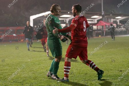 Joe Wright of Hornchurch (L) celebrates with Sam Higgins after the penalty shoot-out during Hornchurch vs King's Lynn Town, Buildbase FA Trophy Football at Hornchurch Stadium on 16th January 2021