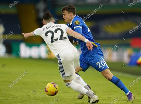 Jack Harrison (L) of Leeds in action against Solly March (R) of Brighton during the English Premier League soccer match between Leeds United and Brighton Hove Albion in Leeds, Britain, 16 January 2021.