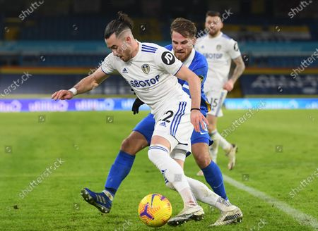 Stock Photo of Jack Harrison (L) of Leeds in action against Alexis Mac Allister (R) of Brighton during the English Premier League soccer match between Leeds United and Brighton Hove Albion in Leeds, Britain, 16 January 2021.