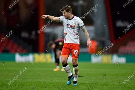 James Collins (19) of Luton Town gestures during the EFL Sky Bet Championship match between Bournemouth and Luton Town at the Vitality Stadium, Bournemouth