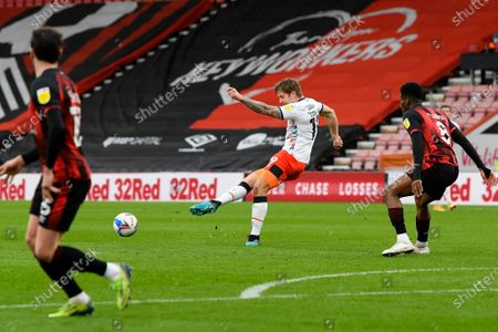 James Collins (19) of Luton Town plays a pass during the EFL Sky Bet Championship match between Bournemouth and Luton Town at the Vitality Stadium, Bournemouth