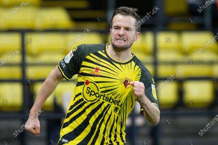 Goal scorer Tom Cleverley of Watford  celebrates