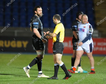 Ryan Wilson - Glasgow Warriors captain speaks to referee Mike Adamson at the end of the match.