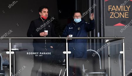 Salford City co-owner Gary Neville talks to Newport County Chairman Gavin Foxall.