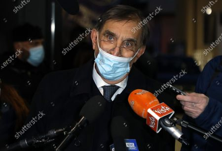 Founder of Italian party 'Fratelli d'Italia', Ignazio La Russa, talks with journalists at the end of the centre-right parties' meeting at the Lega's headquarters in Milan, Italy, 16 January 2021.