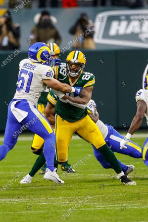 Green Bay Packers tight end Marcedes Lewis (89) in action during an NFL divisional playoff football game between the Los Angeles Rams and Green Bay Packers, in Green Bay, Wis