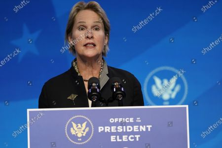 President-elect Joe Biden's nominee to co-chair the President's Council of Advisors on Science and Technology Frances Arnold speaks during an event at The Queen theater, in Wilmington, Del