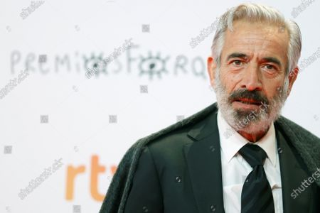 Imanol Arias poses upon his arrival at the Forque Awards Ceremony at Ifema Pavillion in Madrid, Spain, 16 January 2021.