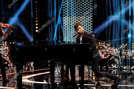 Pablo Lopez performs on stage during the Forque Awards Ceremony at Ifema Pavillion in Madrid, Spain, 16 January 2021.
