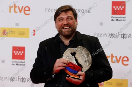 "Hovik Keuchkerian receives the Best Male Performance Award in a TV Series for his work in ""Antidisturbios"" during the Forque Awards Ceremony at Ifema Pavillion in Madrid, Spain, 16 January 2021."