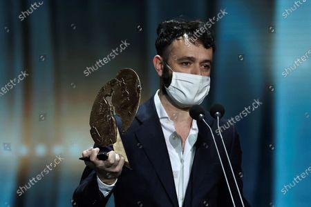 Rodrigo Sorogoyen receives Best TV series Award for 'Antidisturbios' during the Forque Awards Ceremony at Ifema Pavillion in Madrid, Spain, 16 January 2021.
