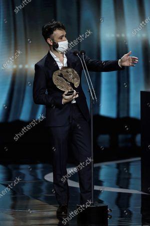 "Rodrigo Sorogoyen receives Best TV series Award for ""Antidisturbios"" during the Forque Awards Ceremony at Ifema Pavillion in Madrid, Spain, 16 January 2021."