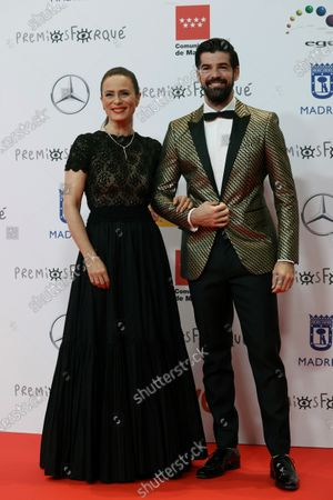 Miguel Angel Munoz and Aitana Sanchez Gijon (L) pose upon their arrival at the Forque Awards Ceremony at Ifema Pavillion in Madrid, Spain, 16 January 2021.