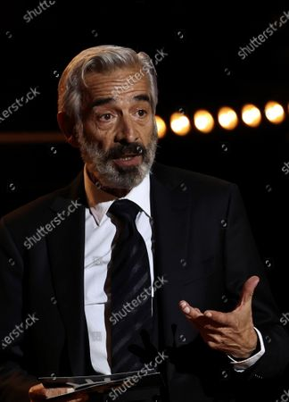 Spanish actor and show host Imanol Arias reacts during the Forque Awards Ceremony at Ifema Pavillion in Madrid, Spain, 16 January 2021.