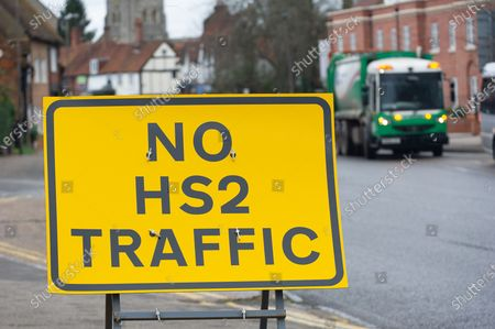 A sign for No HS2 traffic. HS2 are carrying out utility works at the bottom of Gore Hill in Amersham on A355 and A413. One of five ventilation shafts for the new High Speed Rail is being built nearby where a tunnel for the train will go underneath the Chilterns. The controversial High Speed Rail from London to Birmingham is massively over budget. Naturalist Chris Packham launched a petition this month for work to stop on HS2 immediately. It has over £135k signatures already