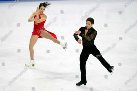 Caroline Green and Michael Parsons perform during the free dance at the U.S. Figure Skating Championships, in Las Vegas