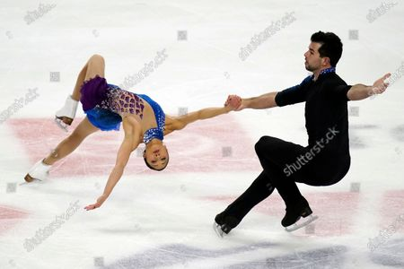 Stock Picture of Jessica Calalang and Brian Johnson perform during the pairs free skate at the U.S. Figure Skating Championships, in Las Vegas
