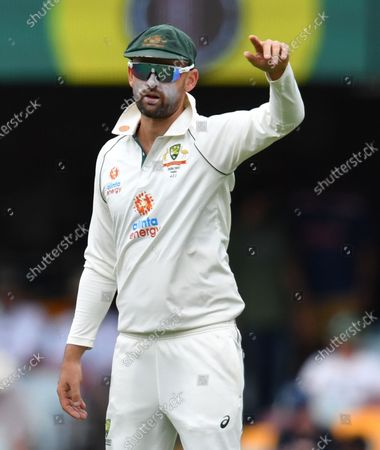 Nathan Lyon of Australia gestures during day three of the fourth Test Match between Australia and India at the Gabba in Brisbane, Australia, 17 January 2021.