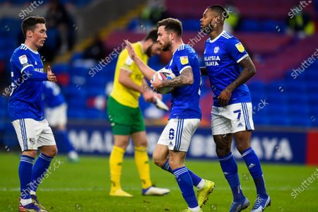 Stock Photo of Cardiff player Joe Ralls celebrates with Harry Wilson and Leandro Bacuna after scoring his sides first goal of the game mid way through the second half