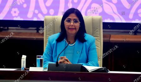 Stock Photo of Venezuelan Vice President Delcy Rodriguez presents the Anti-Blockade Law in Havana, Cuba, 16 January 2021. The proposal, brought forward by Venezuelan President Nicolas Maduro, aims at evading the economic sanctions imposed by the United States.