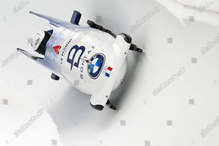 Stock Image of Margot Hoch and Sandie Clair of France in action during the Women's two-woman race at the Bobsleigh World Cup in St. Moritz, Switzerland, 17 January 2021.