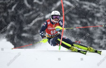 Laurie Taylor of Britain clears a gate during the first run of the Men's Slalom race at the FIS Alpine Skiing World Cup in Flachau, Austria, 17 January 2021.