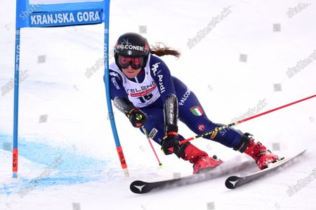 Stock Image of Sofia Goggia of Italy clears a gate during the first run of the Women's Giant Slalom race at the FIS Alpine Skiing World Cup in Kranjska Gora, Slovenia, 17 January 2021.