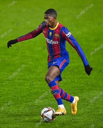 Stock Image of Ousmane Dembele of FC Barcelona  during the Spain Supercup Semifinal 1 match between Real Sociedad and FC Barcelona played at El Arcangel Stadium on January 13, 2021 in Cordoba, Spain. (Photo by Pressinphoto/Icon Sport)