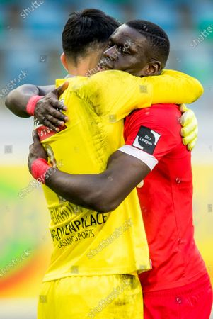 Antwerp's goalkeeper Alireza Beiranvand and Antwerp's Abdoulaye Seck celebrate after winning a soccer match between KAA Gent and Royal Antwerp FC RAFC, Sunday 17 January 2021 in Gent, on day 20 of the 'Jupiler Pro League' first division of the Belgian championship.