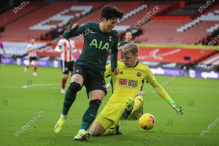 Stock Image of Son Heung-Min (L) of Tottenham in action against Aaron Ramsdale (R) of Sheffield during the English Premier League soccer match between Sheffield United and Tottenham Hotspur in Sheffield, Britain, 17 January 2021.
