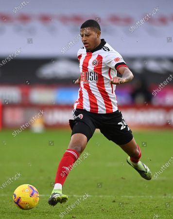 Stock Picture of Sheffield United's Rhian Brewster controls the ball during the English Premier League soccer match between Sheffield United and Tottenham Hotspur at the Bramall Lane stadium in Sheffield, England, Sunday, Jan.17, 2021