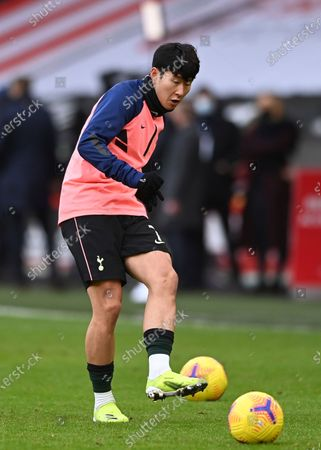 Tottenham Hotspur's Son Heung-min warms up before the English Premier League soccer match between Sheffield United and Tottenham Hotspur at the Bramall Lane stadium in Sheffield, England, Sunday, Jan.17, 2021