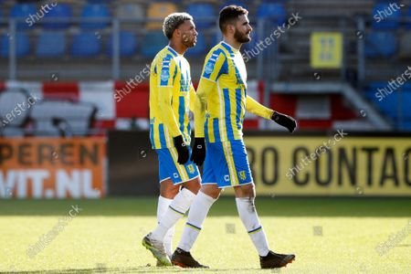 Stock Photo of Sylla Sow of RKC Waalwijk, Ahmed Touba of RKC Waalwijk after the Dutch Eredivisie match