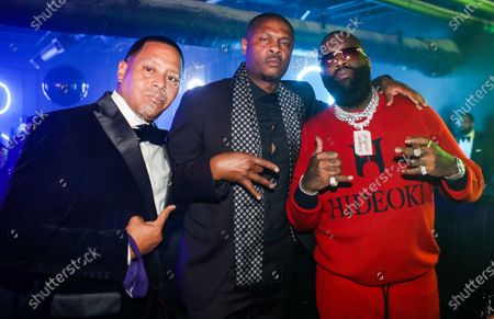 (L-R) Keenan Towns, Kainon Jasper and Rick Ross pose for a picture at The Basement at Thirteen