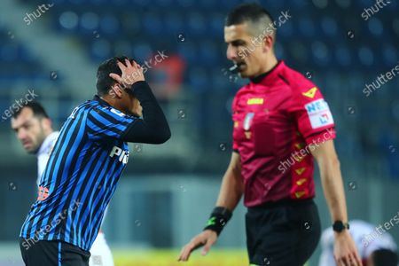Atalanta's Luis Muriel reacts during the Italian Serie A soccer match Atalanta BC vs Genoa CFC at the Gewiss Stadium in Bergamo, Italy, 17 January 2021.