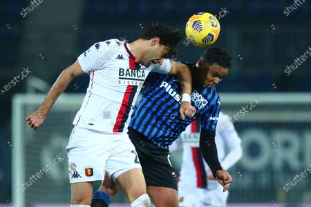 Atalanta's Luis Muriel and Genoa's Ivan Radovanovic (L) in action during the Italian Serie A soccer match Atalanta BC vs Genoa CFC at the Gewiss Stadium in Bergamo, Italy, 17 January 2021.