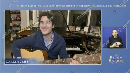 Stock Photo of In this image from video, Darren Criss performs during a 'America United: An Inauguration Welcome Event Celebrating America's Changemakers', that is part of the 59th Presidential Inauguration events ahead of President-elect Joe Biden being sworn in as the 46th president of the United States