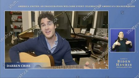 Stock Picture of In this image from video, Darren Criss performs during a 'America United: An Inauguration Welcome Event Celebrating America's Changemakers', that is part of the 59th Presidential Inauguration events ahead of President-elect Joe Biden being sworn in as the 46th president of the United States
