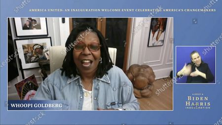 In this image from video, Whoopi Goldberg speaks during a 'America United: An Inauguration Welcome Event Celebrating America's Changemakers', that is part of the 59th Presidential Inauguration events ahead of President-elect Joe Biden being sworn in as the 46th president of the United States