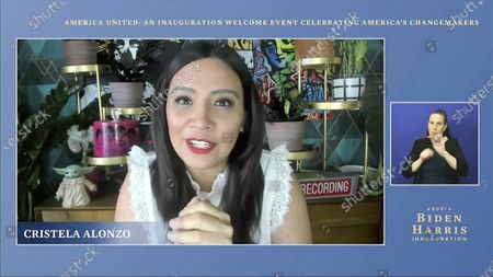 In this image from video, host Cristela Alonzo speaks during a 'America United: An Inauguration Welcome Event Celebrating America's Changemakers', that is part of the 59th Presidential Inauguration events ahead of President-elect Joe Biden being sworn in as the 46th president of the United States