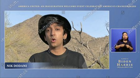 In this image from video, Nik Dodani performs during a 'America United: An Inauguration Welcome Event Celebrating America's Changemakers', that is part of the 59th Presidential Inauguration events ahead of President-elect Joe Biden being sworn in as the 46th president of the United States