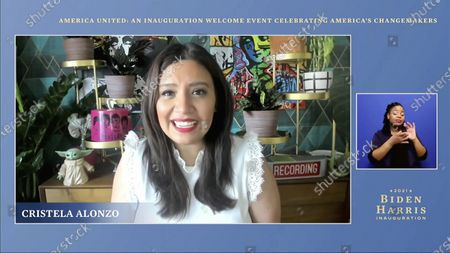 Stock Image of In this image from video, host Cristela Alonzo speaks during a 'America United: An Inauguration Welcome Event Celebrating America's Changemakers', that is part of the 59th Presidential Inauguration events ahead of President-elect Joe Biden being sworn in as the 46th president of the United States