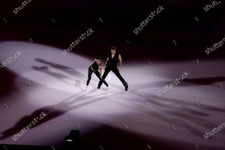 Stock Photo of Caroline Green and Michael Parsons perform during the skating spectacular at the U.S. Figure Skating Championships, in Las Vegas