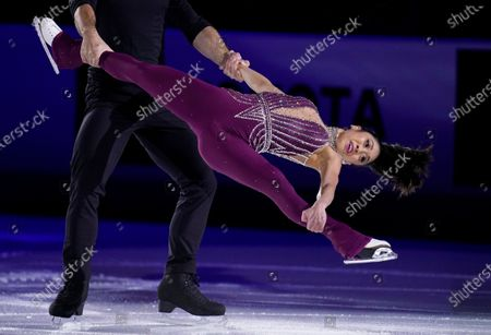 Stock Photo of Jessica Calalang and Brian Johnson perform during the skating spectacular at the U.S. Figure Skating Championships, in Las Vegas